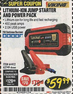 Harbor Freight Coupon LITHIUM ION JUMP STARTER AND POWER PACK Lot No. 62749/64412/56797/56798 Expired: 4/30/19 - $59.99