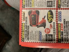 Harbor Freight Coupon LITHIUM ION JUMP STARTER AND POWER PACK Lot No. 62749/64412/56797/56798 Expired: 3/31/19 - $59.99