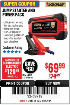 Harbor Freight Coupon LITHIUM ION JUMP STARTER AND POWER PACK Lot No. 62749/64412/56797/56798 Expired: 3/24/19 - $69.99