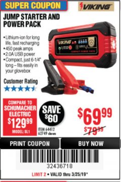 Harbor Freight Coupon LITHIUM ION JUMP STARTER AND POWER PACK Lot No. 62749/64412/56797/56798 Expired: 3/25/19 - $69.99