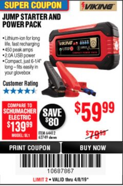Harbor Freight Coupon LITHIUM ION JUMP STARTER AND POWER PACK Lot No. 62749/64412/56797/56798 Expired: 4/8/19 - $59.99