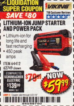 Harbor Freight Coupon LITHIUM ION JUMP STARTER AND POWER PACK Lot No. 62749/64412/56797/56798 Expired: 5/31/19 - $59.99