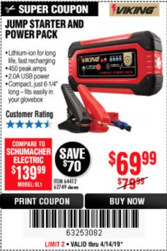 Harbor Freight Coupon LITHIUM ION JUMP STARTER AND POWER PACK Lot No. 62749/64412/56797/56798 Expired: 4/14/19 - $69.99