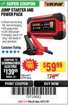 Harbor Freight Coupon LITHIUM ION JUMP STARTER AND POWER PACK Lot No. 62749/64412/56797/56798 Expired: 4/21/19 - $59.99