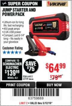 Harbor Freight Coupon LITHIUM ION JUMP STARTER AND POWER PACK Lot No. 62749/64412/56797/56798 Expired: 5/12/19 - $64.99