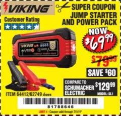 Harbor Freight Coupon LITHIUM ION JUMP STARTER AND POWER PACK Lot No. 62749/64412/56797/56798 Expired: 7/1/19 - $69.99