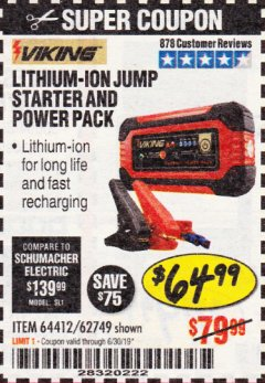 Harbor Freight Coupon LITHIUM ION JUMP STARTER AND POWER PACK Lot No. 62749/64412/56797/56798 Expired: 6/30/19 - $64.99