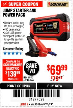 Harbor Freight Coupon LITHIUM ION JUMP STARTER AND POWER PACK Lot No. 62749/64412/56797/56798 Expired: 6/23/19 - $69.99