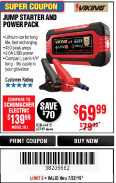 Harbor Freight Coupon LITHIUM ION JUMP STARTER AND POWER PACK Lot No. 62749/64412/56797/56798 Expired: 7/22/19 - $69.99