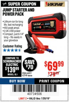 Harbor Freight Coupon LITHIUM ION JUMP STARTER AND POWER PACK Lot No. 62749/64412/56797/56798 Expired: 7/28/19 - $69.99