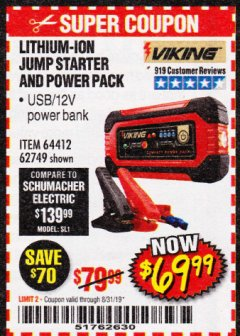 Harbor Freight Coupon LITHIUM ION JUMP STARTER AND POWER PACK Lot No. 62749/64412/56797/56798 Expired: 8/31/19 - $69.99