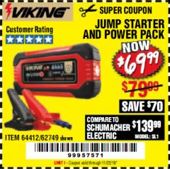 Harbor Freight Coupon LITHIUM ION JUMP STARTER AND POWER PACK Lot No. 62749/64412/56797/56798 Expired: 11/22/19 - $69.99