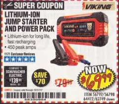 Harbor Freight Coupon LITHIUM ION JUMP STARTER AND POWER PACK Lot No. 62749/64412/56797/56798 Expired: 10/31/19 - $69.99