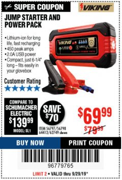 Harbor Freight Coupon LITHIUM ION JUMP STARTER AND POWER PACK Lot No. 62749/64412/56797/56798 Expired: 9/29/19 - $69.99