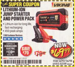Harbor Freight Coupon LITHIUM ION JUMP STARTER AND POWER PACK Lot No. 62749/64412/56797/56798 Expired: 11/30/19 - $69.99