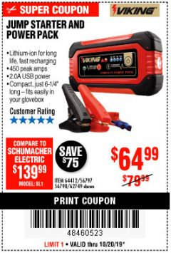 Harbor Freight Coupon LITHIUM ION JUMP STARTER AND POWER PACK Lot No. 62749/64412/56797/56798 Expired: 10/20/19 - $64.99