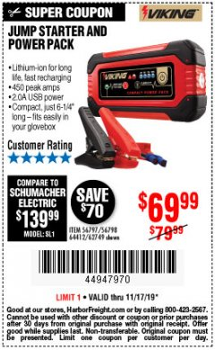 Harbor Freight Coupon LITHIUM ION JUMP STARTER AND POWER PACK Lot No. 62749/64412/56797/56798 Expired: 11/17/19 - $69.99