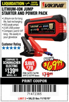Harbor Freight Coupon LITHIUM ION JUMP STARTER AND POWER PACK Lot No. 62749/64412/56797/56798 Expired: 11/10/19 - $69.99