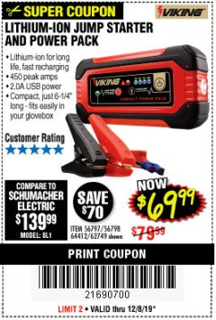 Harbor Freight Coupon LITHIUM ION JUMP STARTER AND POWER PACK Lot No. 62749/64412/56797/56798 Expired: 12/8/19 - $69.99