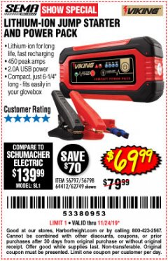 Harbor Freight Coupon LITHIUM ION JUMP STARTER AND POWER PACK Lot No. 62749/64412/56797/56798 Expired: 11/24/19 - $69.99