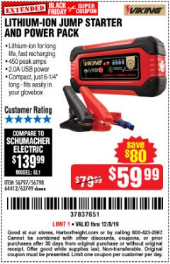Harbor Freight Coupon LITHIUM ION JUMP STARTER AND POWER PACK Lot No. 62749/64412/56797/56798 Expired: 12/8/19 - $59.99
