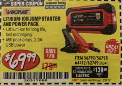 Harbor Freight Coupon LITHIUM ION JUMP STARTER AND POWER PACK Lot No. 62749/64412/56797/56798 Expired: 12/31/19 - $69.99