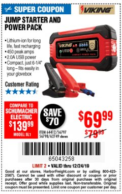 Harbor Freight Coupon LITHIUM ION JUMP STARTER AND POWER PACK Lot No. 62749/64412/56797/56798 Expired: 12/24/19 - $69.99