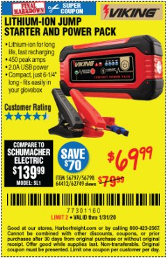 Harbor Freight Coupon LITHIUM ION JUMP STARTER AND POWER PACK Lot No. 62749/64412/56797/56798 Expired: 1/31/20 - $69.99