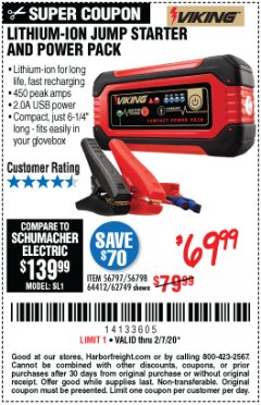 Harbor Freight Coupon LITHIUM ION JUMP STARTER AND POWER PACK Lot No. 62749/64412/56797/56798 Expired: 2/7/20 - $69.99