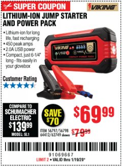 Harbor Freight Coupon LITHIUM ION JUMP STARTER AND POWER PACK Lot No. 62749/64412/56797/56798 Expired: 1/19/20 - $69.99