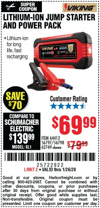 Harbor Freight Coupon LITHIUM ION JUMP STARTER AND POWER PACK Lot No. 62749/64412/56797/56798 Expired: 1/26/20 - $69.99