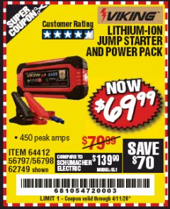 Harbor Freight Coupon LITHIUM ION JUMP STARTER AND POWER PACK Lot No. 62749/64412/56797/56798 Expired: 6/30/20 - $69.99