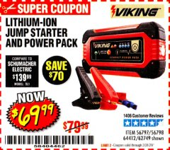 Harbor Freight Coupon LITHIUM ION JUMP STARTER AND POWER PACK Lot No. 62749/64412/56797/56798 Expired: 3/31/20 - $69.99