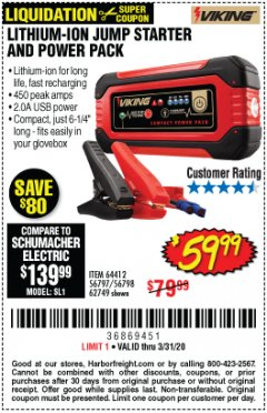 Harbor Freight Coupon LITHIUM ION JUMP STARTER AND POWER PACK Lot No. 62749/64412/56797/56798 Expired: 3/31/20 - $59.99