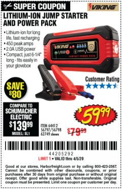 Harbor Freight Coupon LITHIUM ION JUMP STARTER AND POWER PACK Lot No. 62749/64412/56797/56798 Expired: 6/30/20 - $59.99