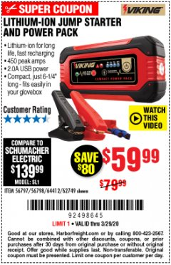 Harbor Freight Coupon LITHIUM ION JUMP STARTER AND POWER PACK Lot No. 62749/64412/56797/56798 Expired: 3/29/20 - $59.99
