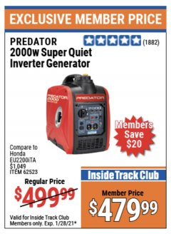 Harbor Freight ITC Coupon 2000 PEAK / 1600 RUNNING WATTS 2.8 HP (79.7 CC) PORTABLE INVERTER GENERATOR Lot No. 62523 Expired: 1/28/21 - $479.99