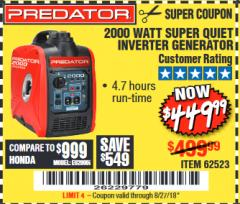 Harbor Freight Coupon 2000 PEAK / 1600 RUNNING WATTS 2.8 HP (79.7 CC) PORTABLE INVERTER GENERATOR Lot No. 62523 Expired: 8/27/18 - $449.99