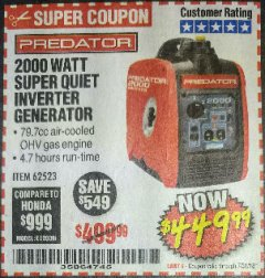 Harbor Freight Coupon 2000 PEAK / 1600 RUNNING WATTS 2.8 HP (79.7 CC) PORTABLE INVERTER GENERATOR Lot No. 62523 Expired: 7/31/18 - $449.99