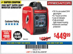 Harbor Freight Coupon 2000 PEAK / 1600 RUNNING WATTS 2.8 HP (79.7 CC) PORTABLE INVERTER GENERATOR Lot No. 62523 Expired: 6/24/18 - $449.99