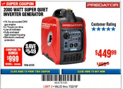 Harbor Freight Coupon 2000 PEAK / 1600 RUNNING WATTS 2.8 HP (79.7 CC) PORTABLE INVERTER GENERATOR Lot No. 62523 Expired: 7/22/18 - $449.99
