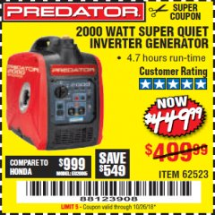 Harbor Freight Coupon 2000 PEAK / 1600 RUNNING WATTS 2.8 HP (79.7 CC) PORTABLE INVERTER GENERATOR Lot No. 62523 Expired: 10/26/18 - $449.99