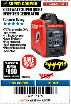 Harbor Freight Coupon 2000 PEAK / 1600 RUNNING WATTS 2.8 HP (79.7 CC) PORTABLE INVERTER GENERATOR Lot No. 62523 Expired: 8/31/18 - $449.99