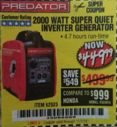 Harbor Freight Coupon 2000 PEAK / 1600 RUNNING WATTS 2.8 HP (79.7 CC) PORTABLE INVERTER GENERATOR Lot No. 62523 Expired: 11/1/18 - $449.99
