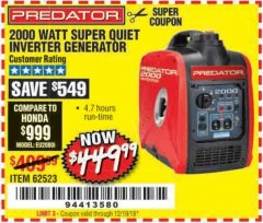 Harbor Freight Coupon 2000 PEAK / 1600 RUNNING WATTS 2.8 HP (79.7 CC) PORTABLE INVERTER GENERATOR Lot No. 62523 Expired: 12/19/18 - $449.99