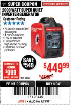 Harbor Freight Coupon 2000 PEAK / 1600 RUNNING WATTS 2.8 HP (79.7 CC) PORTABLE INVERTER GENERATOR Lot No. 62523 Expired: 9/23/18 - $449.99