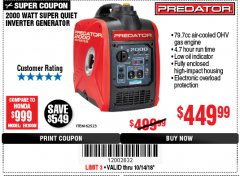 Harbor Freight Coupon 2000 PEAK / 1600 RUNNING WATTS 2.8 HP (79.7 CC) PORTABLE INVERTER GENERATOR Lot No. 62523 Expired: 10/14/18 - $449.99