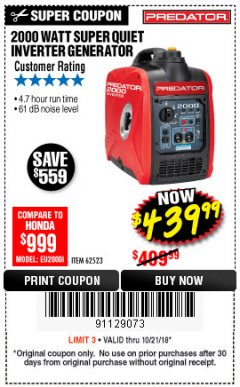 Harbor Freight Coupon 2000 PEAK / 1600 RUNNING WATTS 2.8 HP (79.7 CC) PORTABLE INVERTER GENERATOR Lot No. 62523 Expired: 10/21/18 - $439.99