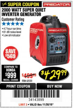 Harbor Freight Coupon 2000 PEAK / 1600 RUNNING WATTS 2.8 HP (79.7 CC) PORTABLE INVERTER GENERATOR Lot No. 62523 Expired: 11/30/18 - $429.99