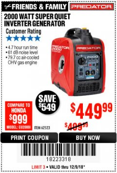 Harbor Freight Coupon 2000 PEAK / 1600 RUNNING WATTS 2.8 HP (79.7 CC) PORTABLE INVERTER GENERATOR Lot No. 62523 Expired: 12/9/18 - $449.99